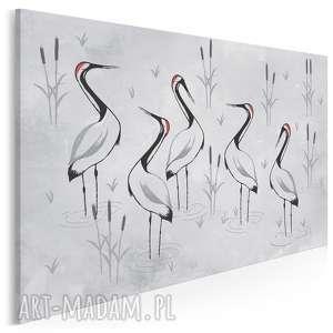 obraz na płótnie - żurawie sejmik szare 120x80 cm (85201)
