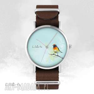 zegarek - kolorowy ptaszek brązowy, nato, zegarki, ptaszek, bransoleta