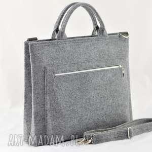 ręcznie wykonane na laptopa duża szara torebka na laptopa - minimalistyczna