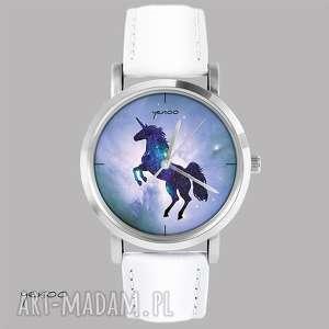 zegarek, bransoletka - jednorożec, unicorn biały, skórzany