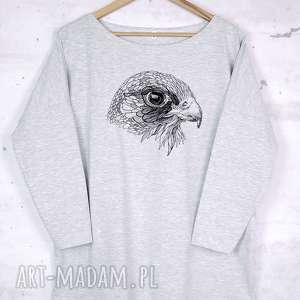 SOKÓŁ koszulka bawełniana szara L/XL z nadrukiem, bluzka, bawełna, szara, nadruk