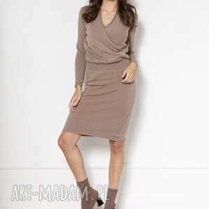 swetrowa sukienka z kopertowym dekoltem swe136 beż, sukienka, sweter, midi