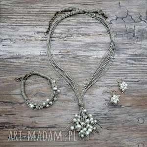 komplet - perły i len, perełki, ecru, lniany, ekologiczny, delikatny, kobiecy