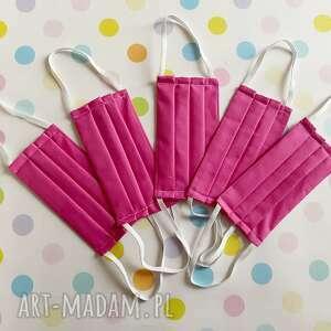 Maseczki bawełniane dla dorosłych 5 sztuk - róż maseczka akukuuu
