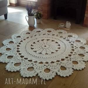 dywan biała lilia, 140 cm, dywan, ze sznurka, szydełkowy