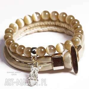 bransoletki złote z sową, sowa, kule, rzemień, komplet, pozłacane, prezent biżuteria