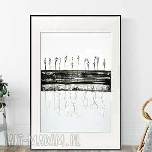 Grafika 50x70 cm wykonana ręcznie, abstrakcja, elegancki