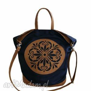 ręcznie zrobione torebki torba granatowe płótno