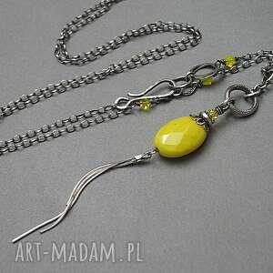 naszyjniki canary-naszyjnik, srebro, oksydowane, kwarc, swarovski, kanarkowy