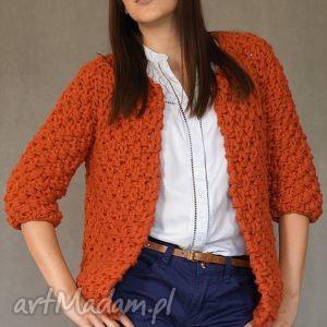 ręczne wykonanie swetry brick-red chunky