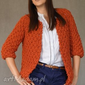 swetry brick-red chunky, sweter, gruby, druty, dziergany