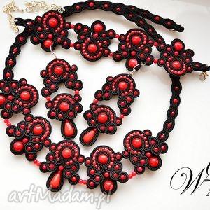 Komplet sutasz czarno czerwony wdart sutasz, komplet, elegancki,