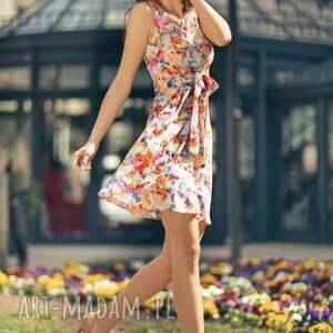 ręcznie zrobione sukienki sukienka 2w1 wiązana na kokardę t234, jasne kwiaty