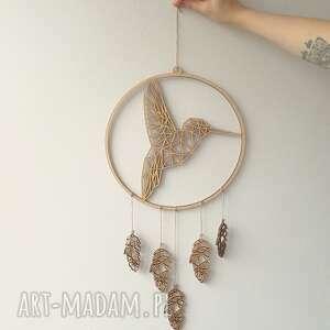 hagal łapacz snów z geometrycznym kolibrem, zwierzęta, sklejki, drewno, boho