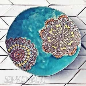 patera turkus, ceramiczna, turkusowa, talerz ceramiczny, motyw