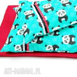 pościel dla lalek pandy na turkusie materacyk, lalka, wózek łóżeczko