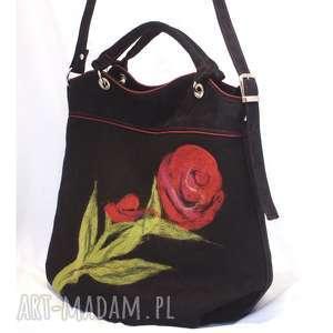 unikalny, pierwsza z filcowanych, torebka, duża, filcowana, kwiaty, kobieca