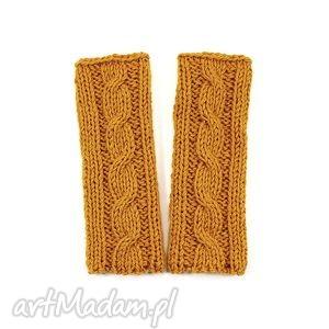 hand-made rękawiczki mitenki z warkoczem bez palców handmade dziergane