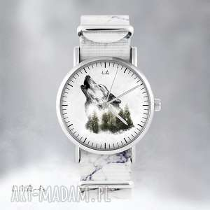 Prezent Zegarek - Wilk marmurkowy, nato, zegarek, bransoletka, las, wilk