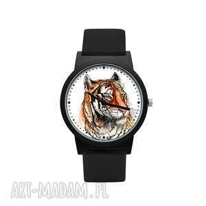 zegarek z silikonowym paskiem tygrys, kocur, drapieżny, piękny, oryginalny