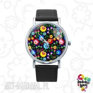 zegarek z grafiką ludowy, polski, folklor, modny, dodatek, łowicki