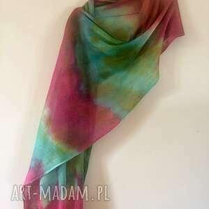 Anna Damzyn, tęczowy lniany szal - unikat, ręcznie barwiony, prezent, upominek