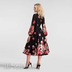 sukienka aniela total midi izabella, sukienka, midi, kwiaty, rekaw