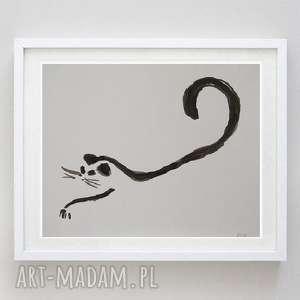 kot-praca formatu a5, kot, papier, akwarela, abstrakcja, tusz