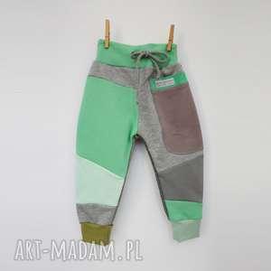 Patch pants spodnie 110 - 152 cm szary & mięta mimi monster