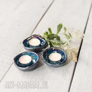 Podstawki pod tea light, świeczniki turkusowe, świeczniki, podstawki, ceramika,