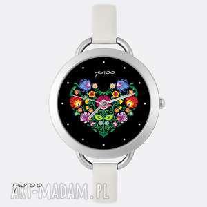 handmade zegarki zegarek - folkowe serce, czarny
