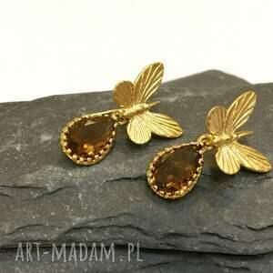 kolczyki motylki, pozłacane , biżuteria, ona, kobieta, złote, nowość