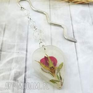 mela art 1147- zakładka do książki żywica, kwiat róży, zakładka