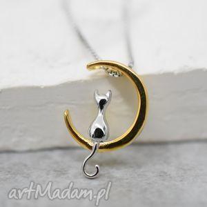 madamlili 925 srebrny łańcuszek ksieżycowy kot - księżyc