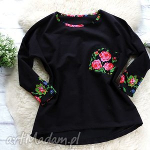 bluzy dresowa bluza oversize folkowa cleo kwiaty folk, bluza, folkowa