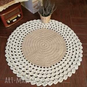dywan ze sznurka bawełnianego szydełkowy 90cm, sznurka