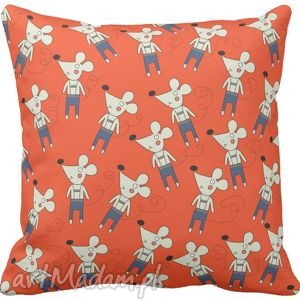 ręcznie robione pokoik dziecka poszewka na poduszkę dziecięca myszki na czerwonym