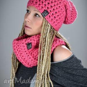Czapka mono 08 - różowa czapki laczapakabra czapka, wełna
