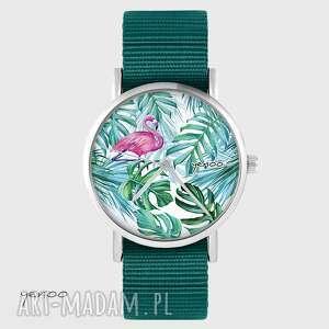 zegarki zegarek yenoo - flaming, tropikalny morski, nato, zegarek, pasek, nato