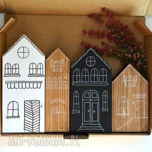 handmade dekoracje 4 domki ręcznie malowane
