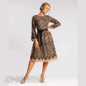 sukienki sukienka joana midi donatella beż, midi, rozkloszowana, elegancka
