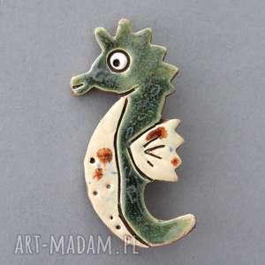 morski dzikus- broszka ceramika - design, prezent, urodziny, kobieta, mama, dodatek