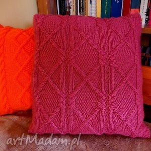 poduszki włóczkowa poduszka we wzór warkoczowy, poduszka, dziergana,