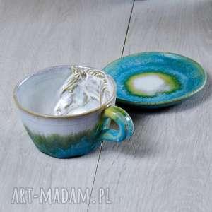 kubki espresso filiżanka - oryginalny prezent z koniem turkus 220 ml