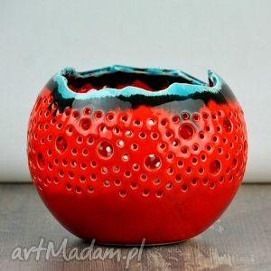handmade ceramika lampion ball czerwony z turkusem
