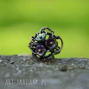 Elven garden - pierścionek ze szklanymi kwiatami, duży-pierścionek
