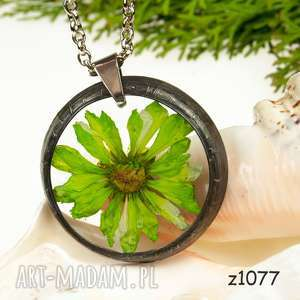 naszyjnik z prawdziwym kwiatem z1077 - naszyjnik z kwiatem, biżuteria z żywicy, z