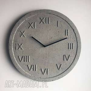 Zegar ścienny z betonu handmade betonowy roman natural szary