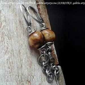 tiramisu kolczyki z bursztynu i srebra, bursztyn naturalny, bałtycki