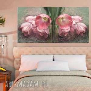 Obraz na płótnie 100 x 50, kwiaty, namalowany ręcznie, technika